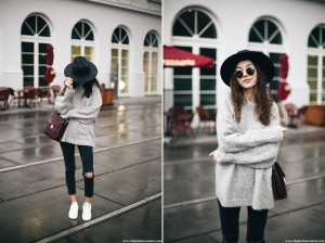 how-to-wear-hm-mohair-grey-oversized-sweater-with-stan-smith-sneakers-brixton-fedora-hat